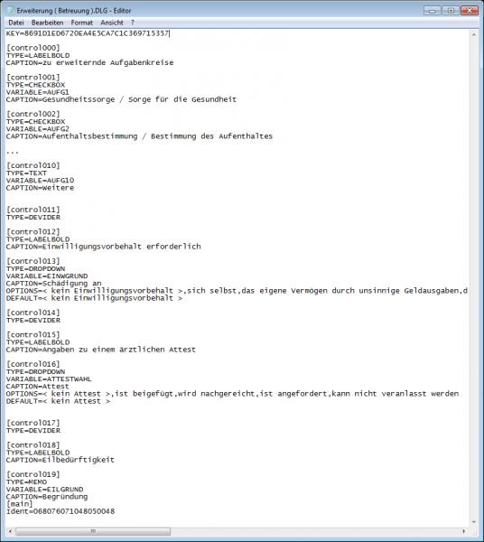 Auszug aus der DLG-Datei mit den Definitionen für den Dialog