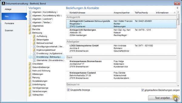Neuanlage von Dokumenten in der Dokumentverwaltung