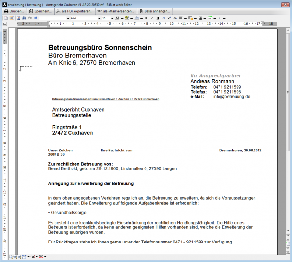 Bearbeitung eines Briefes mit der internen Textverarbeitung