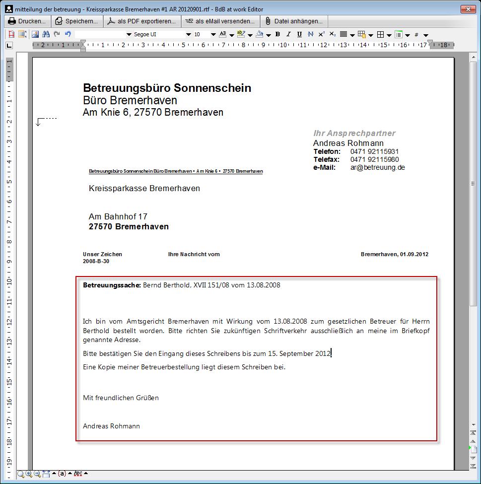Dokumentvorlagen Betreuungde Software Für Rechtliche Betreuung