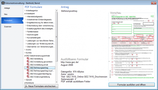 Dokumentverwaltung - Formulare