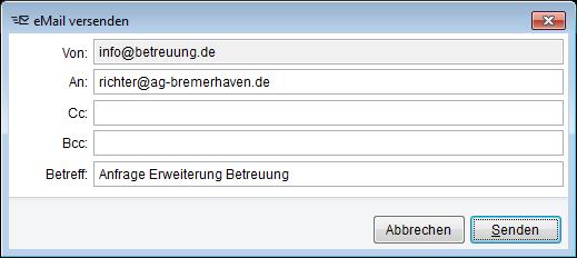 Optionen für den Versand als email