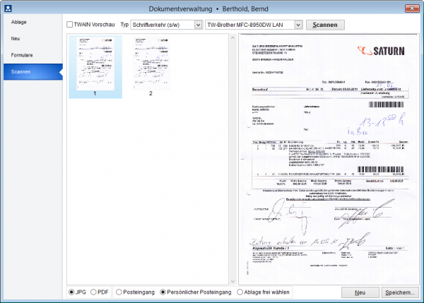 Scanfunktion in der Dokumentverwaltung