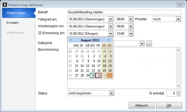 Auswahl des Datums