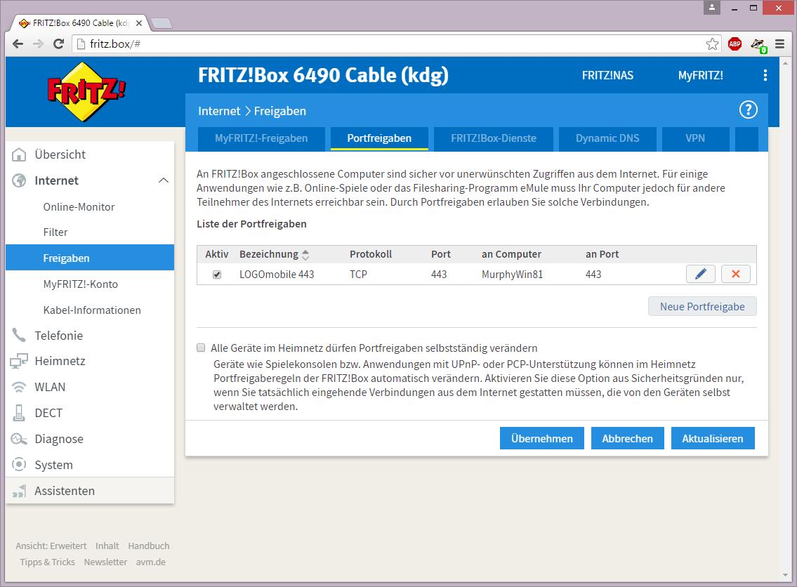 AVM Fritzbox - Liste der Portfreigaben