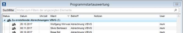 Programmstartauswertung mit neuer Suchfilterzeile