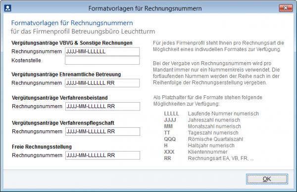 Pro Fallart kann nun ein individuelles Rechnungsnummernformat angegeben werden.