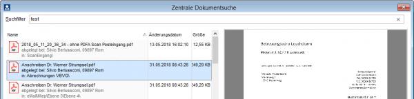 Zentrale Dokumentsuche findet per Volltextsuche Dateien und Dokumente über alle Klienten- und Büroablagen hinweg