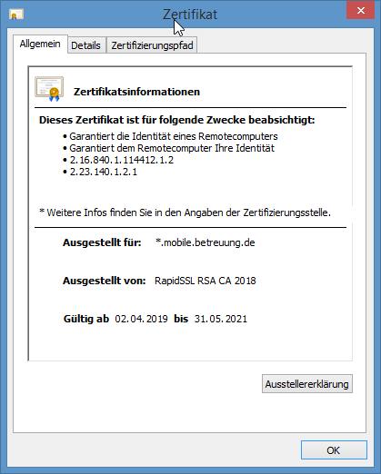Chrome Webbrowser - Kontrolle des verwendeten Zertifikats