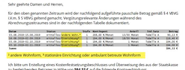 Neu: Variabler Text für gewöhnlichen Aufenthalt des Klienten