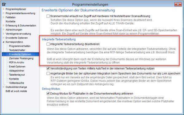Option zum Deaktivieren der internen Textverarbeitung