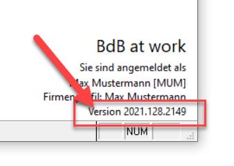 BdB at work Versionsangabe finden